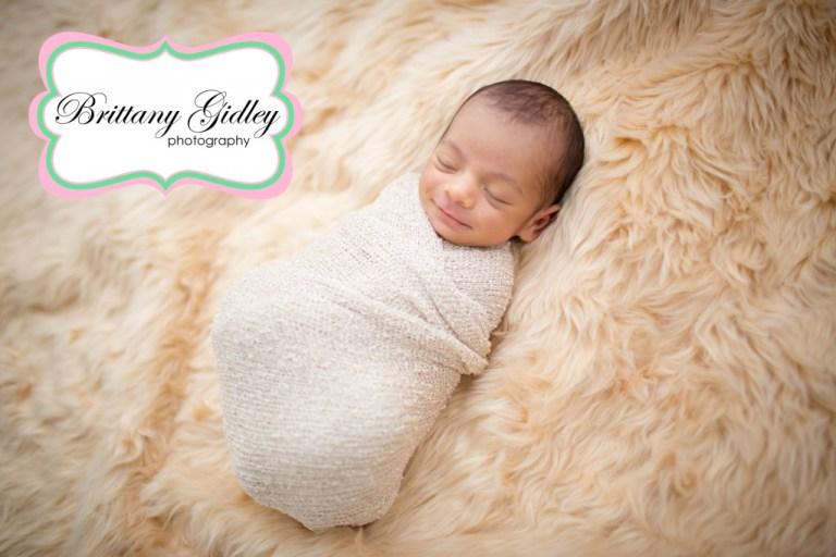 Cleveland Newborn | Newborn Wrap | Smiling Baby | Brittany Gidley Photography LLC