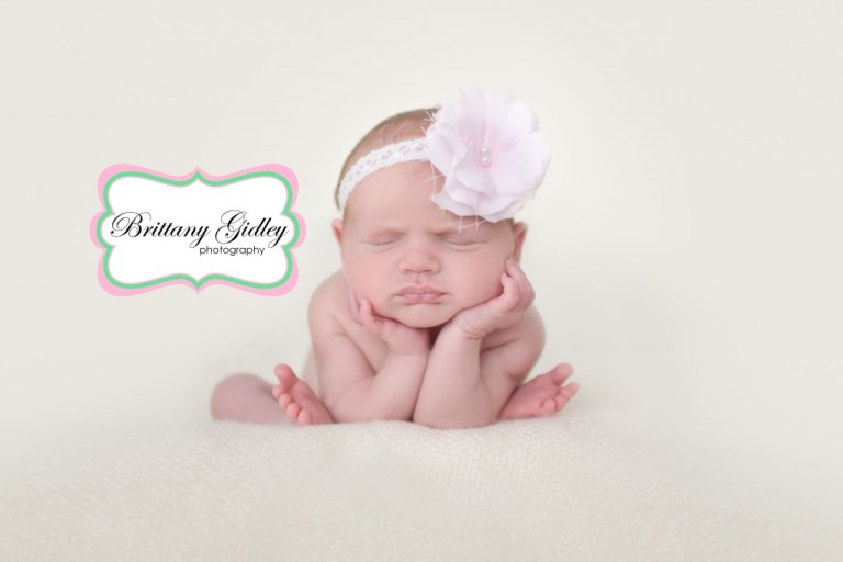 Newborn Baby Girl | Froggy Pose | Head in Hands Pose | Brittany Gidley Photography LLC