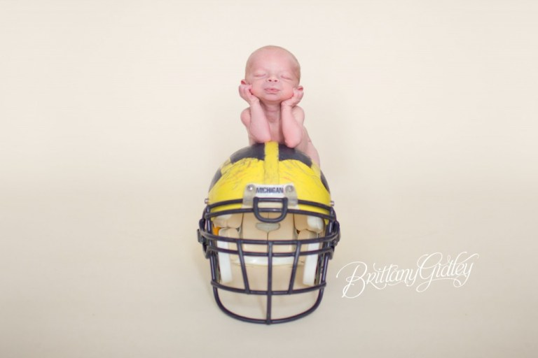 Michigan | Brittany Gidley Photography LLC | Sweet Newborn Boy | Patrick | Start With The Best | Football | Helmet