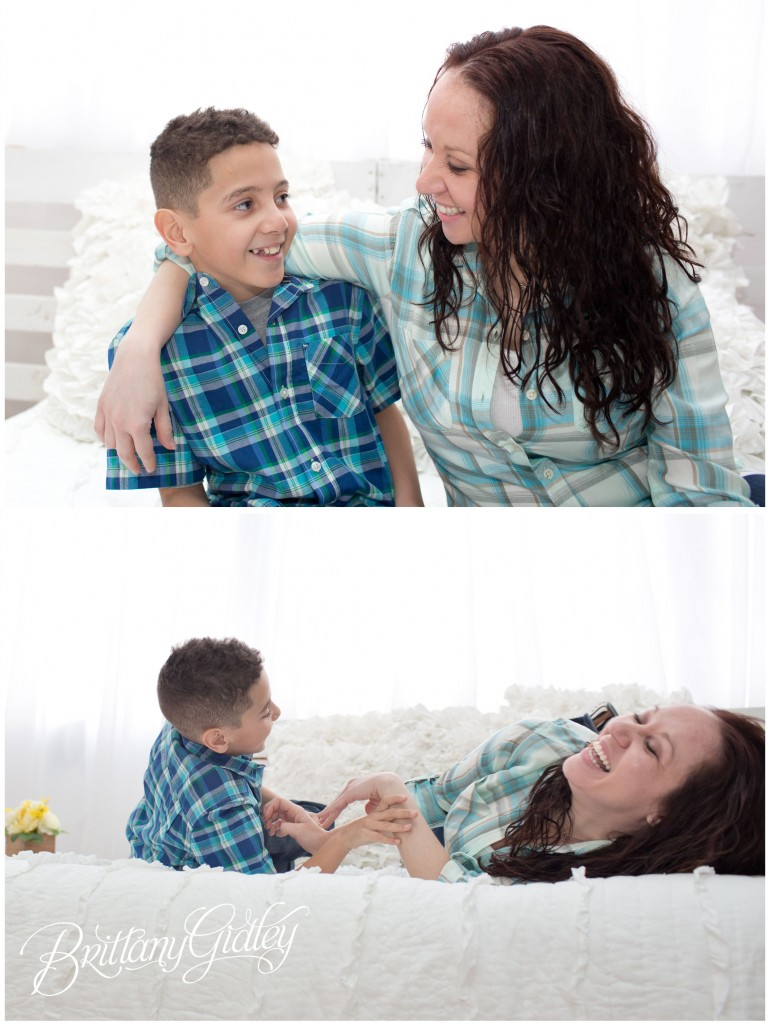 Cleveland Child Photography | White | Bed | 10 Years Old and Mom | Child Photographer