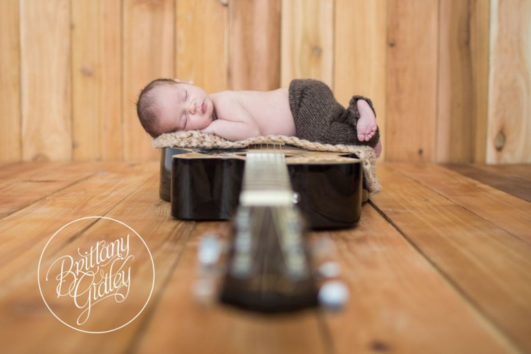 Baby On Guitar | Newborn On Guitar | Cleveland Newborn | Cleveland Newborn Photography | Baby Photographer | Baby Photography | Cleveland Ohio | Brittany Gidley Photography LLC