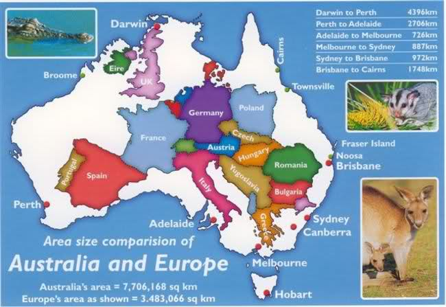 Australia in size comparison to UK and Europe – Britzinoz