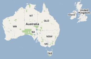 Map of UK and Australia