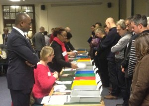 Returning Officer Derrick Anderson CBE oversees the count at Lambeth Town Hall