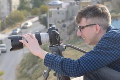 James Stittle filming at the Jordan/Syria border