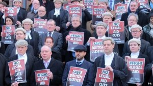 Barristers protest cuts to legal aid in Birmingham (Credit: PA)