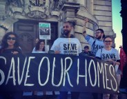 Save our homes demo outside Lambeth town hall