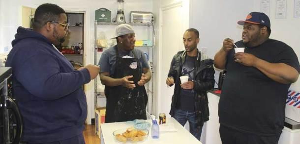 Solomon with soup kitchen colleagues