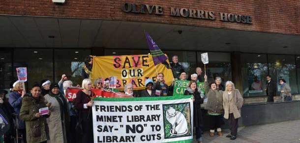 Library protesters at Olive Morris House, Lambeth
