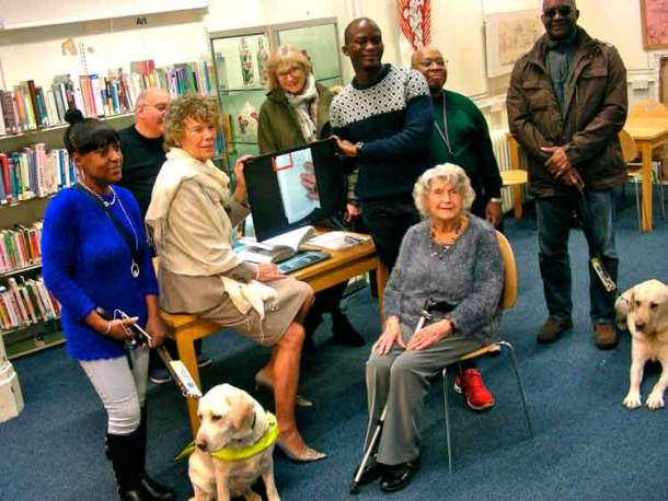 Kate Hoey at the launch with (l to r) Winsome Ennis (and Sunshine), Edward Martin, Jessica Lough, Mohammed Kallon, Clemont Moore, Patrick Roberts (and Rufus), Joan Hunt
