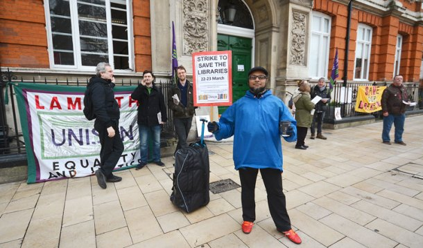 Unison members striking against library closures outside Brixton's Tate library (which is to remain open)