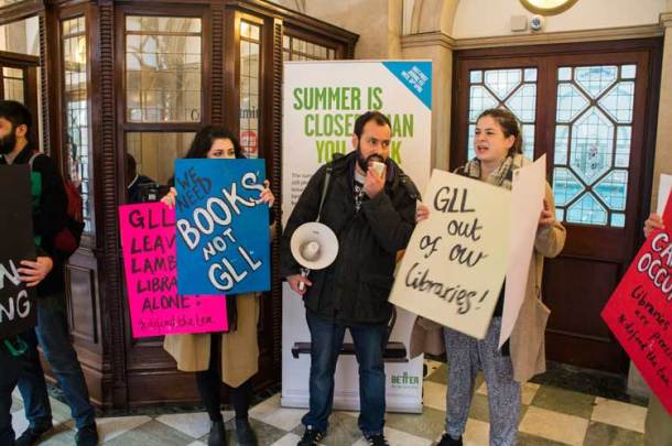 Protesters inside GLL's luxury spa in the West End
