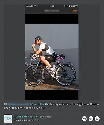 Stolen Bike Twitter post for a bike stolen in Brixton