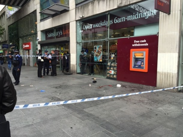 assault scene outside Sainsbury's