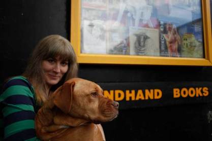Wendy with the Bookmongers dog Rosa