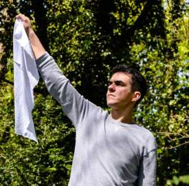 Xavier de Sousa performs in POST at the Ovalhouse Theatre