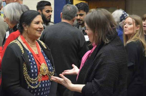 Mayor Saleha Jaffer talked to party goers