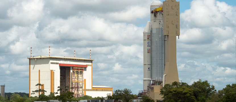 Ariane 5 during its transfer from the Spaceport's Launcher Integration Building to the Final Assembly Building