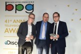 Breakthrough winners Harry and Jack Williams with BPG chair Gideon Spanier centre