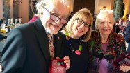 Edward Barnes and Biddy Baxter collect the Harvey Lee Award for Blue Peter. With Marilyn Lee (centre).