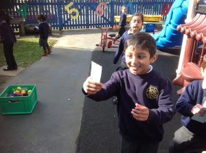 Outside we took part in a word hunt. We followed the clues to collect the words and then shared them with our group.