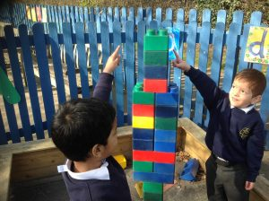 We even practised our mathematical language - we built a tower that was taller than us!