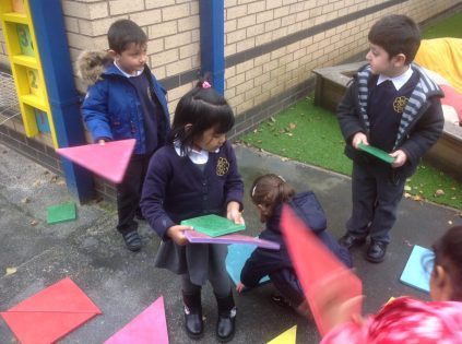 We hunted for shapes outside.