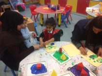 Our mums and dads helped us to print shapes.