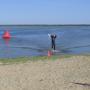 Standing in the lake before the race
