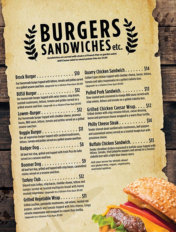 Burgers and Sandwiches