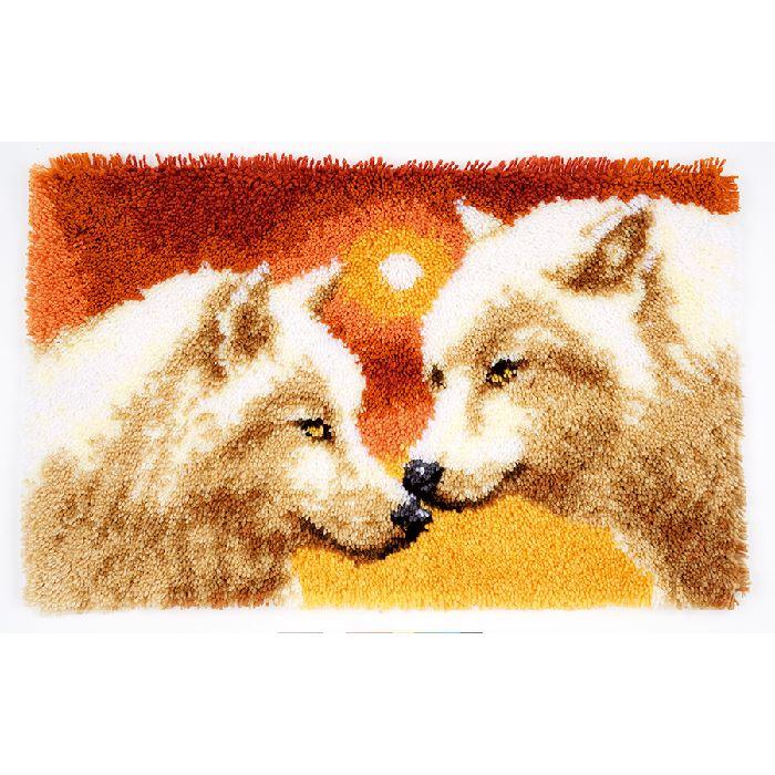 kit tapis point noue 2 loups vervaco