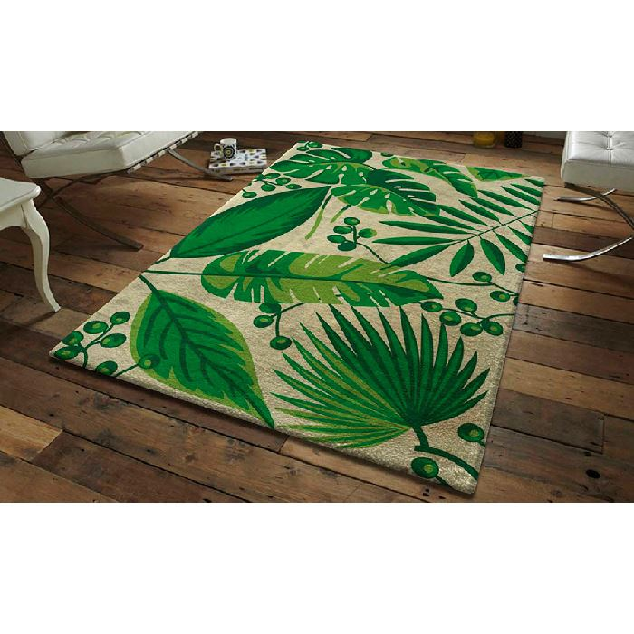 kit tapis point noue feuilles tropicales smyrnalaine
