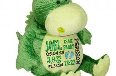Limegrön kramdjur dinosaurie med en personlig brodyr