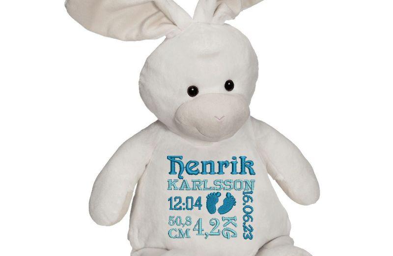 En härlig kanin som heter Bunny, med plats för en stor personlig brodyr på magen.