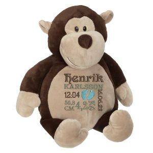 En härlig apa som heter Monty, med plats för en stor personlig brodyr på magen.