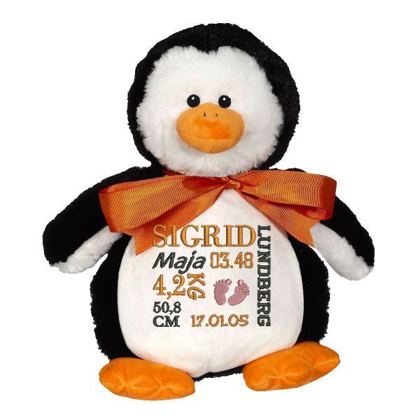 En härlig pingvin som heter Pendrik, med plats för en stor personlig brodyr på magen.