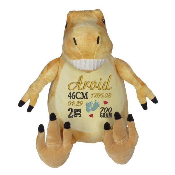 En härlig dinosaurie som heter Tommy, med plats för en stor personlig brodyr på magen.