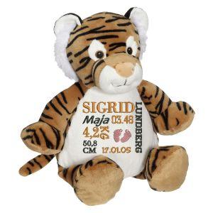 En härlig tiger som heter Tory, med plats för en stor personlig brodyr på magen.