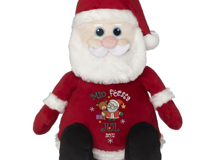 """Gosedjur jultomte med texten """"Min första jul"""" broderad på magen"""