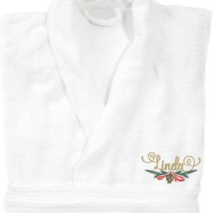 Badrock i grått, vitt och marint med juldekoration och namn broderat.