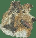 Broderat huvud av Shetland Sheepdog sobel
