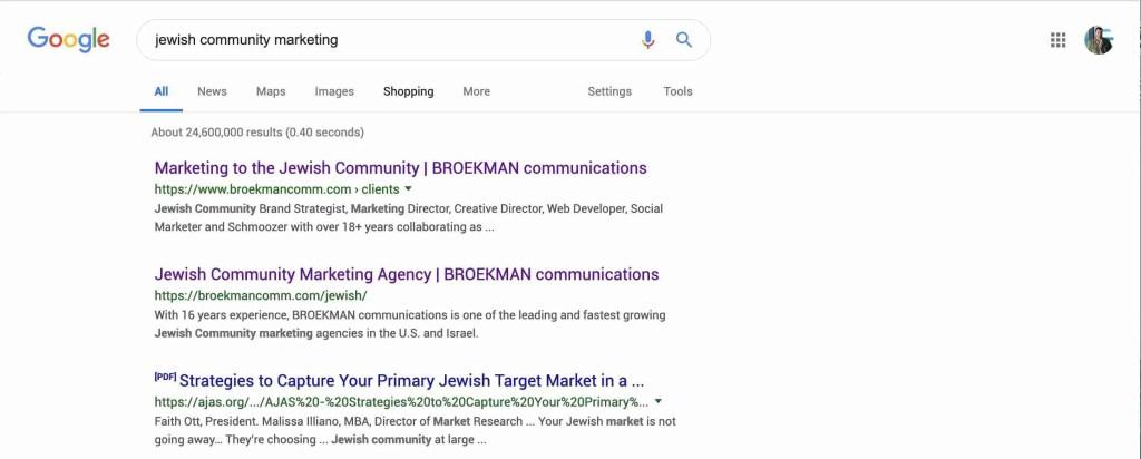 Google Search - Jewish Community Marketing