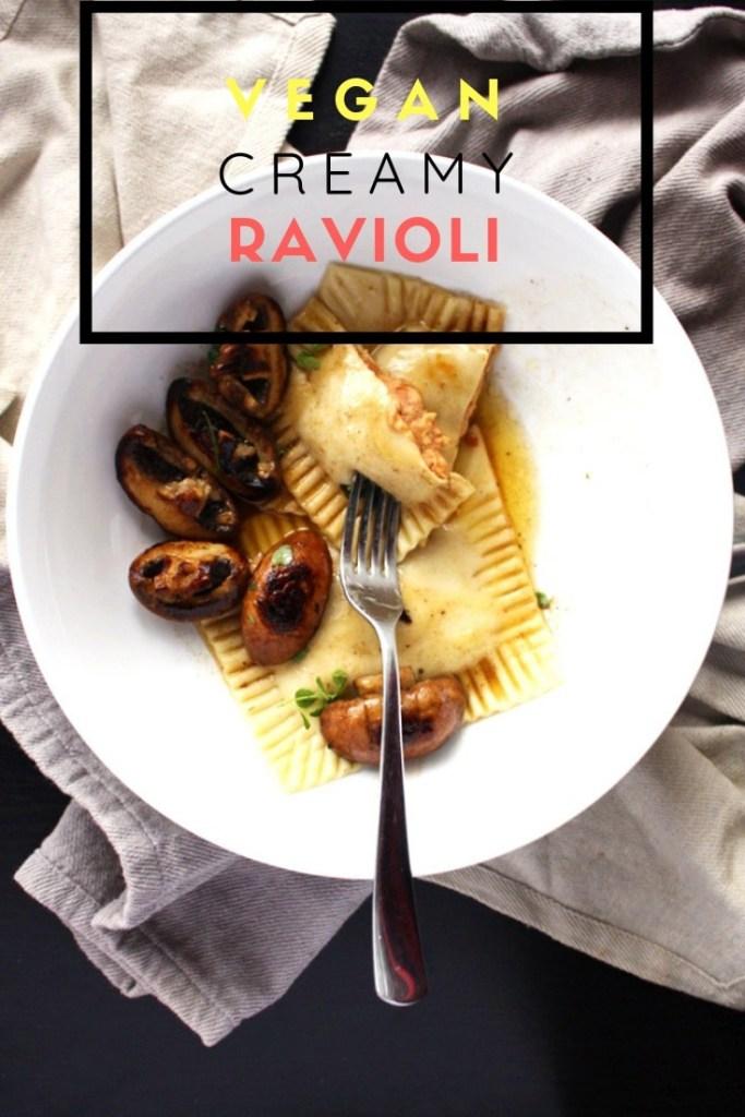 Vegan Ravioli with Mushroom in a large bowl