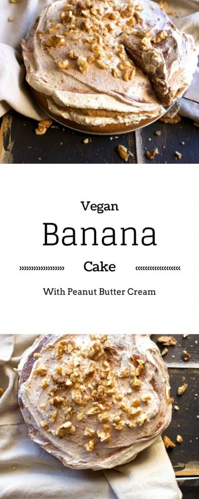 Vegan Banana Cake - Made with whole wheat, a peanut butter cream this cake recipe is easy enough it may just become your go to Banana Cake.