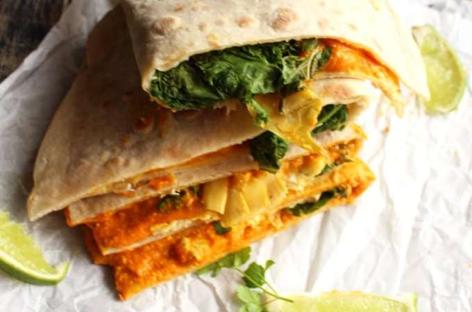 Vegan Quesadillas with Kale and Artichokes