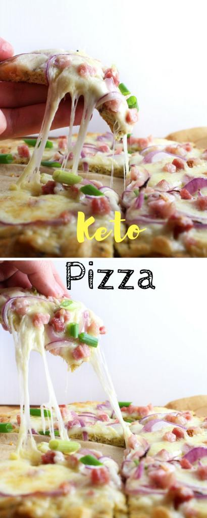 Easy Keto Pizza With Pancetta and Smoked Cheddar - Low Carbs Gluten Free Coconut Crust Pizza Recipe
