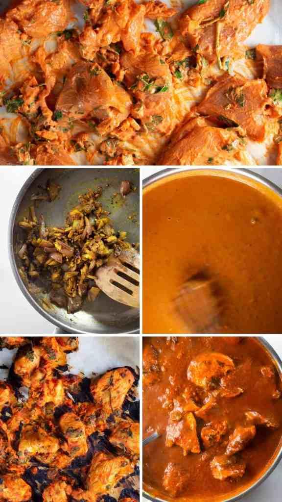 Keto Chicken Tikka Masala, step by step collage