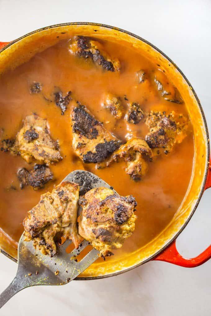 Grilled chicken added to paleo butter chicken sauce.