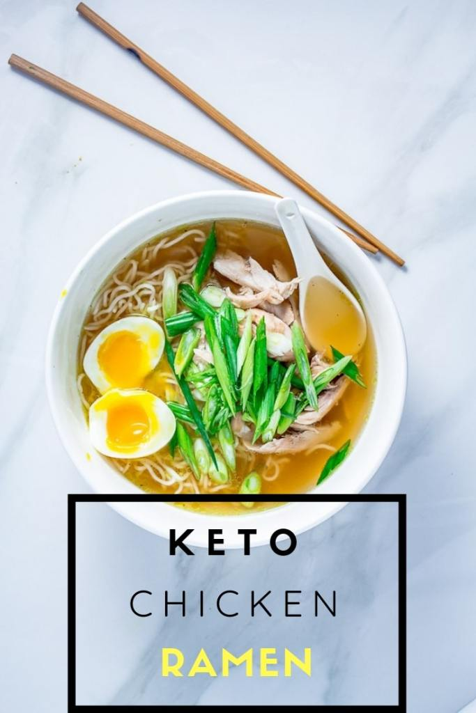 Keto Chicken Ramen Bowl on marble surface