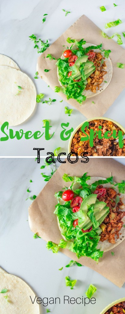Sweet & Spicy Vegan Tacos   Easy and fast vegan tacos recipe served with a sweet maple mayonnaise. This is one of my favourite vegan summer recipes.